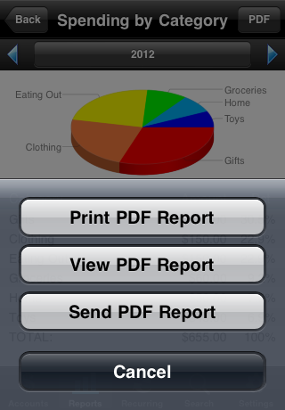 PDF Report Options Menu